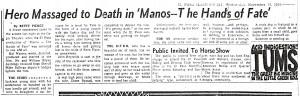 Manos Review by Betty Pierce, November 16, 1966.