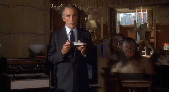 Christopher Lee shows a tape